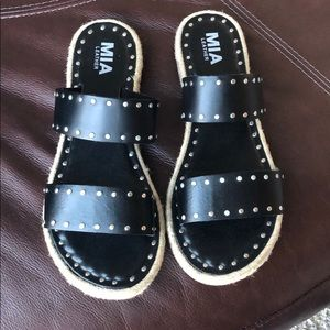Black leather MIA sandals with studs and 2straps